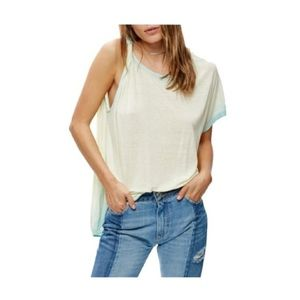 NEW Free People Pluto One Shoulder Tee Blue